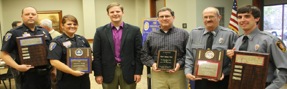 Courtesy Monroe Journal Alice Ortiz. Amory Rotary Club recently honored the Police Officer of the Year and Firefighter of the Year.  Pictured (left to right), Nick Weaver of the Amory Police Department, who presented Dawn Wise as the Officer of the Year, Dawn Wise, Matt Chisholm of Amory Rotary Club, recently retired Amory Fire Chief Jimmy Bost, who received a plaque for his service, Amory Firefighter of the Year, Lee Wright, and Amory Fire Chief, Zack McGonagill, who presented the award to Wright.